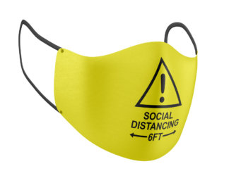 Yellow Caution Social Distancing 6FT Print Adult Face Mask - MaskMarket.com