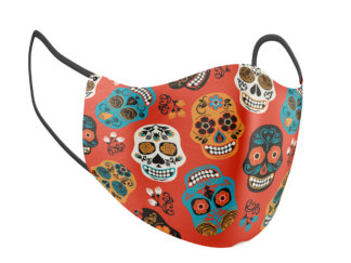 Red Sugar Skulls Multicolor Print Adult Face Mask - MaskMarket.com