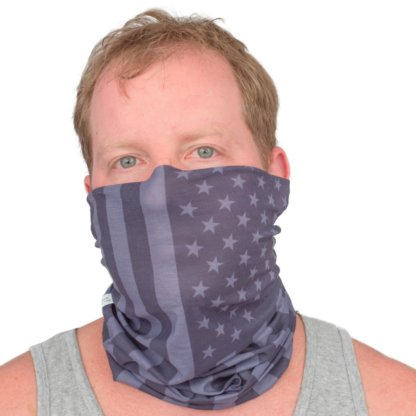 Black Gray Grayscale Vertical American Flag Print Adult Face Mask Gaiter - MaskMarket.com